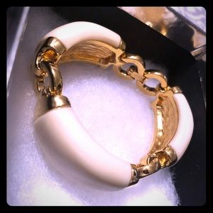 Cream and faux gold J Crew bracelet
